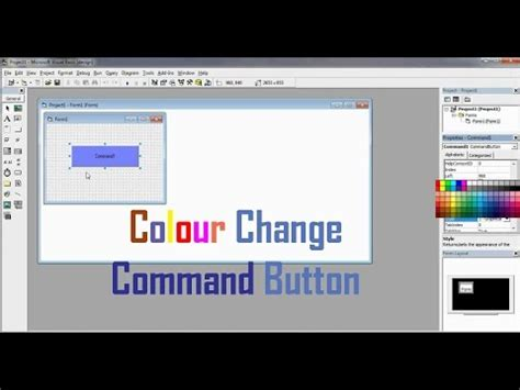 How to change the colour of a Command button in Vb 6