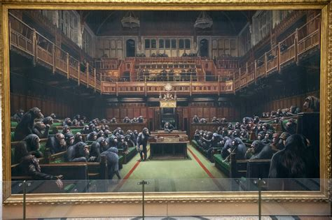 Banksy's Devolved Parliament painting of MPs as chimps is