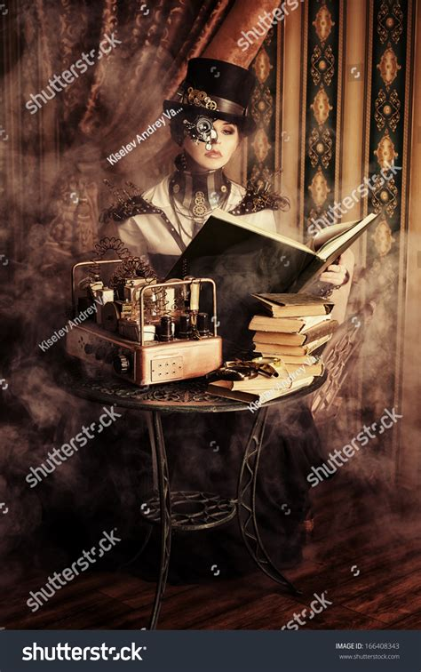 Portrait Of A Beautiful Steampunk Woman Over Vintage
